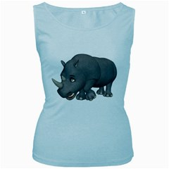 Rhino 2 Womens  Tank Top (Baby Blue)