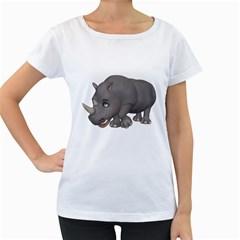 Rhino 2 Womens' Maternity T-shirt (White)