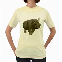 Rhino 3  Womens  T Shirt (yellow)