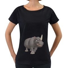 Rhino 3 Womens' Maternity T Shirt (black)