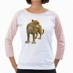 Leopard 1 Womens  Long Sleeve Raglan T Shirt (white)