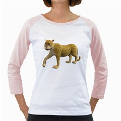 Leopard 2 Womens  Long Sleeve Raglan T Shirt (white)