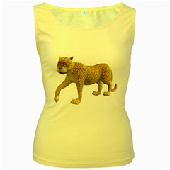 Leopard 2 Womens  Tank Top (Yellow)