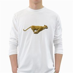 Leopard 3 Mens' Long Sleeve T-shirt (White)