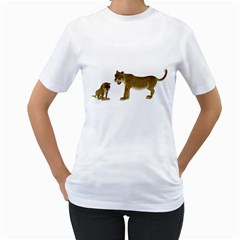 Leopard 4 Womens  T-shirt (White)