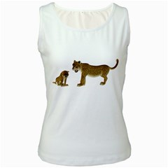 Leopard 4 Womens  Tank Top (white)