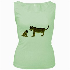 Leopard 4 Womens  Tank Top (Green)