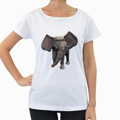 Elephant 1 Womens' Maternity T-shirt (White)