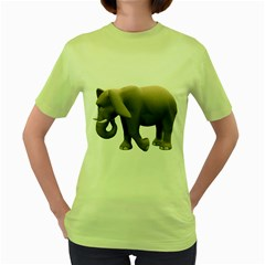 Elephant 2 Womens  T-shirt (Green)
