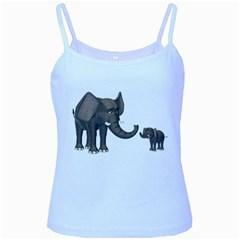 Elephant 3 Baby Blue Spaghetti Tank