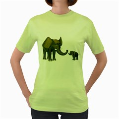 Elephant 3 Womens  T-shirt (Green)
