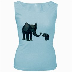 Elephant 3 Womens  Tank Top (baby Blue)