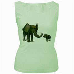 Elephant 3 Womens  Tank Top (Green)