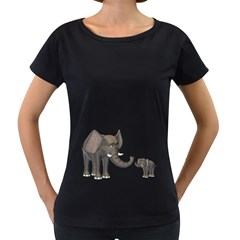 Elephant 3 Womens' Maternity T-shirt (Black)
