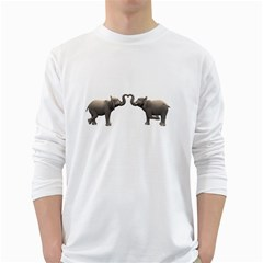 Elephant 4 Mens' Long Sleeve T Shirt (white)