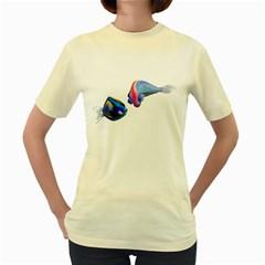 Fish 5  Womens  T-shirt (Yellow)