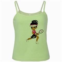 Tennis Girl 1 Green Spaghetti Tank