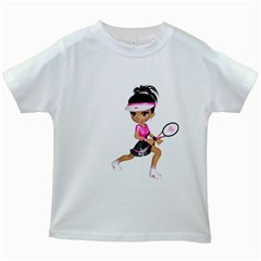 Tennis Girl 1 Kids' T-shirt (White)