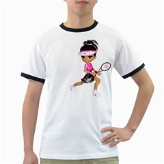 Tennis Girl 1 Mens' Ringer T-shirt