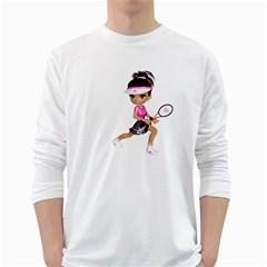 Tennis Girl 1 Mens' Long Sleeve T-shirt (White)