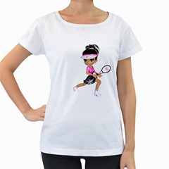 Tennis Girl 1 Womens' Maternity T-shirt (White)