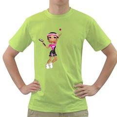 Tennis Girl 2 Mens  T-shirt (Green)
