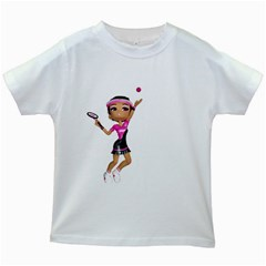 Tennis Girl 2 Kids' T-shirt (White)