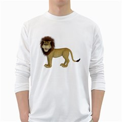 Lion 1 Mens' Long Sleeve T-shirt (White)