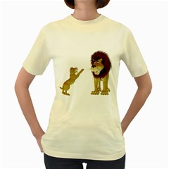 Lion 3  Womens  T-shirt (Yellow)
