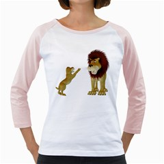 Lion 3 Womens  Long Sleeve Raglan T-shirt (White)
