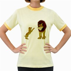 Lion 3 Womens  Ringer T-shirt (Colored)