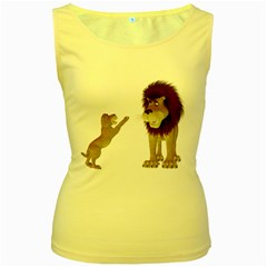 Lion 3 Womens  Tank Top (Yellow)
