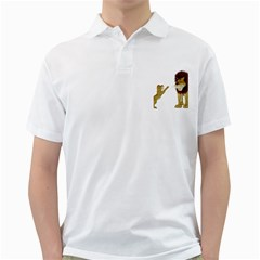 Lion 3 Mens  Polo Shirt (White)