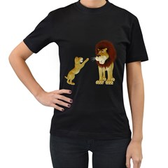 Lion 3 Womens' Two Sided T Shirt (black)