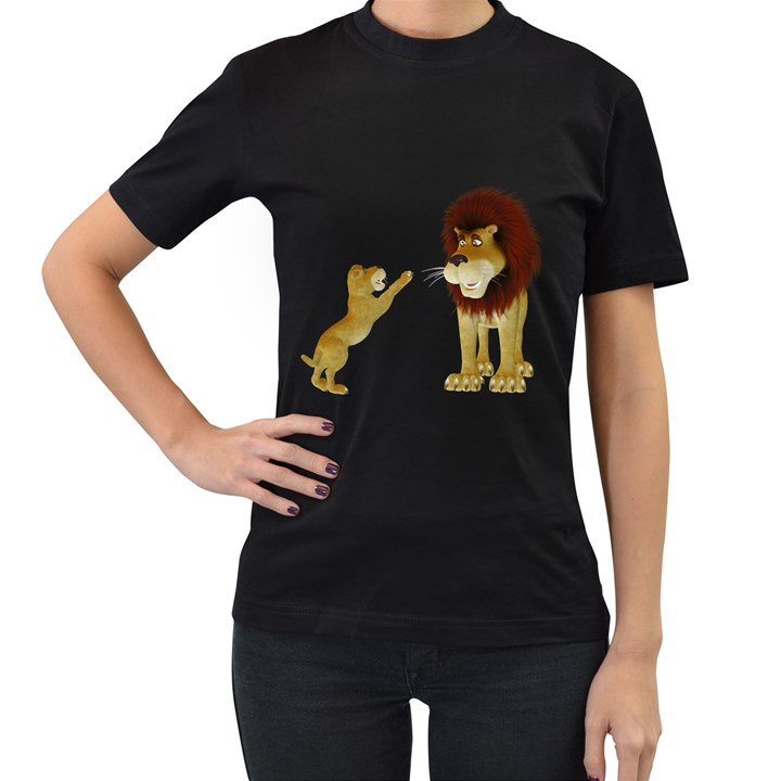 Lion 3 Womens' Two Sided T-shirt (Black)