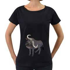 Buffalo 1 Womens' Maternity T-shirt (Black)