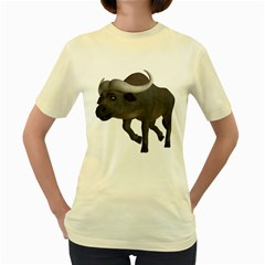 Buffalo 3  Womens  T-shirt (Yellow)