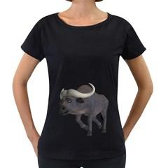 Buffalo 3 Womens' Maternity T Shirt (black)