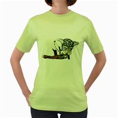 Native Snow Leopard 2 Womens  T-shirt (Green)
