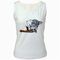 Native Snow Leopard 2 Womens  Tank Top (White)