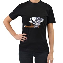 Native Snow Leopard 2 Womens' Two Sided T-shirt (Black)