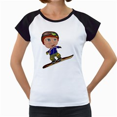 Snowboarder 1 Women s Cap Sleeve T-Shirt (White)