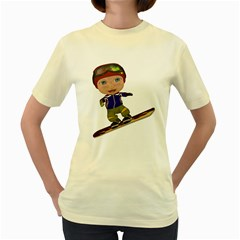 Snowboarder 1  Womens  T-shirt (Yellow)