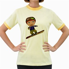 Snowboarder 1 Womens  Ringer T-shirt (Colored)