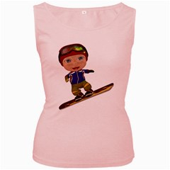 Snowboarder 1 Womens  Tank Top (Pink)