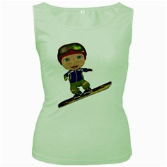 Snowboarder 1 Womens  Tank Top (green)