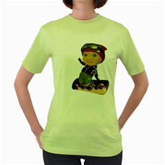 Snowboarder 2 Womens  T-shirt (Green)