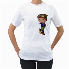 Snowboarder 3 Womens  T-shirt (White)