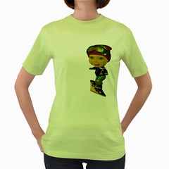 Snowboarder 3 Womens  T-shirt (Green)