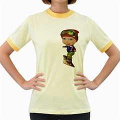 Snowboarder 3 Womens  Ringer T-shirt (Colored)